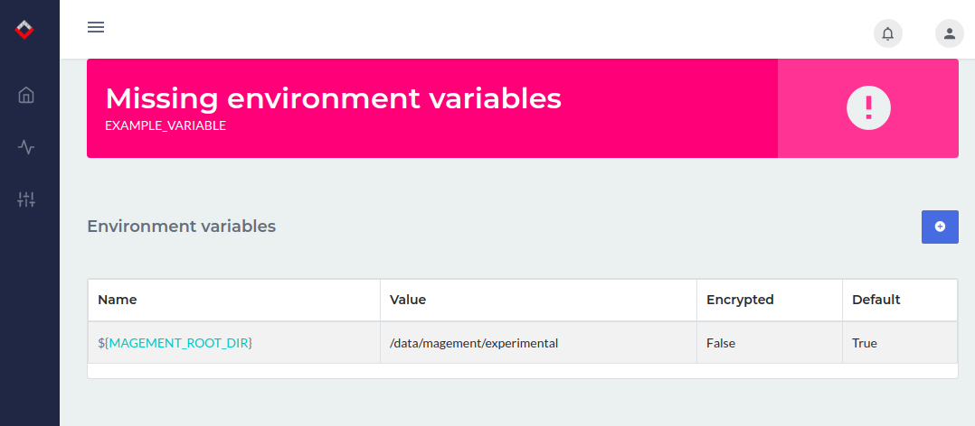 Environment variable candidate notice